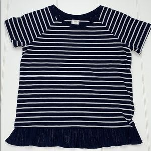 Navy And White Shirt Sleeve Top